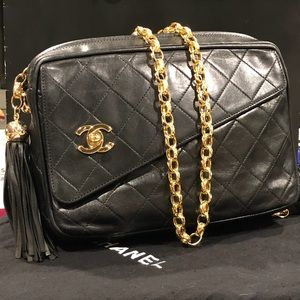 Chanel Vintage Black Lambskin Tasseled Crossbody